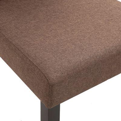 vidaXL Sillas de comedor 2 unidades de tela marrón