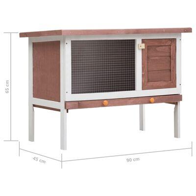 vidaXL Jaula conejera de 1 piso madera marrón