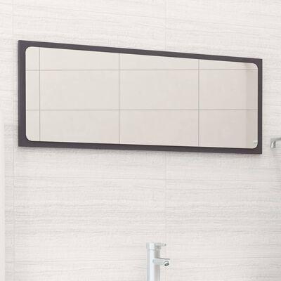 vidaXL Espejo de baño aglomerado gris brillante 90x1,5x37 cm