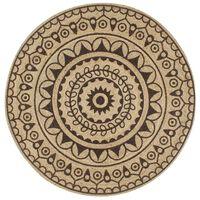 vidaXL Alfombra de yute tejida a mano estampado marrón oscuro 90 cm