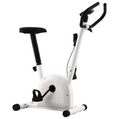 vidaXL Bicicleta estática con resistencia de cinta blanco