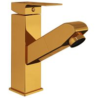 vidaXL Grifo de lavabo de baño con función extraíble negro 157x172 mm