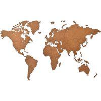 MiMi Innovations Mapa decorativo pared Luxury madera marrón 90x54 cm