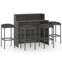 vidaXL Juego de muebles de bar de jardín de 5 piezas y cojines gris
