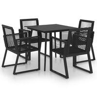 vidaXL Juego de comedor para jardín 5 piezas ratán PVC negro
