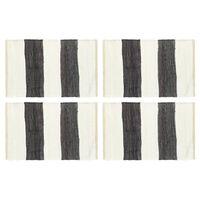 vidaXL Manteles individuales 4 uds Chindi a rayas gris blanco 30x45 cm