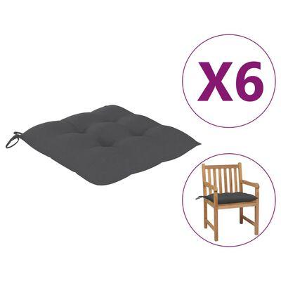 vidaXL Cojines de silla 6 unidades tela gris antracita 50x50x7 cm