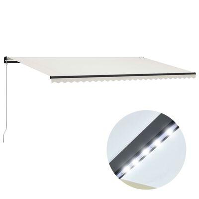 vidaXL Toldo manual retráctil con LED color crema 600x300 cm