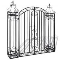vidaXL Puerta de jardín decorativa de hierro forjado 122x20,5x134 cm