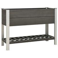 vidaXL Mesa de cultivo para jardín con estante WPC gris 125x50x90 cm