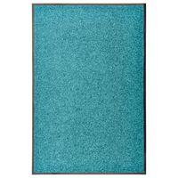 vidaXL Felpudo lavable azul cian 60x90 cm