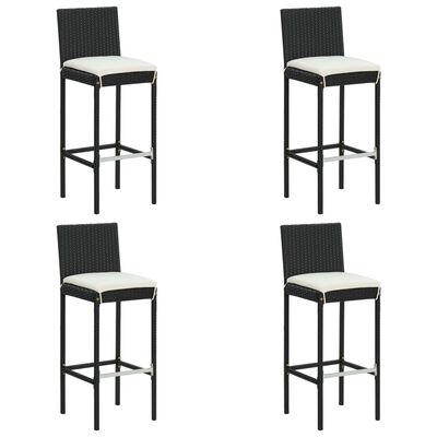 vidaXL Conjunto de bar para jardín 5 piezas con cojines negro