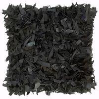 vidaXL Cojín con flecos de cuero y algodón negro 60x60 cm