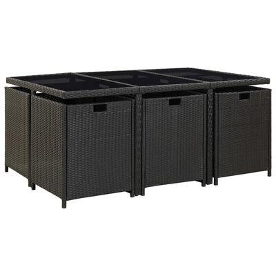 vidaXL Set comedor de jardín 11 piezas y cojines ratán sintético negro