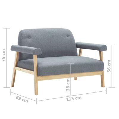 vidaXL Sofá de 2 plazas tela gris claro