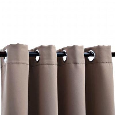 vidaXL Cortinas opacas con anillas de metal 2 pzs gris topo 140x175 cm