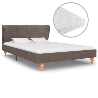 vidaXL Cama con colchón tela gris topo 120x200 cm