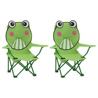 vidaXL Sillas de jardín para niños 2 unidades tela verde