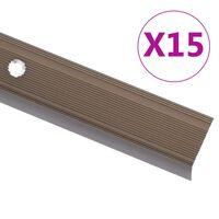 vidaXL Perfiles de peldaños forma de L 15 uds aluminio marrón 134 cm