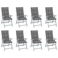 vidaXL Sillas de jardín reclinables y cojines 8 uds madera acacia gris