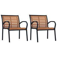 vidaXL Sillas de jardín 2 unidades acero y WPC negro y marrón