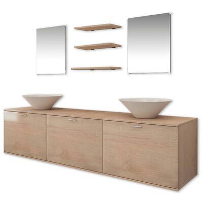 vidaXL Set muebles para baño con lavabo y grifo 10 uds Beis