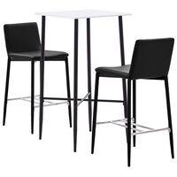 vidaXL Set mesa alta y taburetes de bar 3 pzas cuero sintético marrón