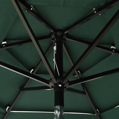 vidaXL Sombrilla de 3 niveles con poste de aluminio verde 2 m