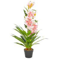 vidaXL Planta artificial lirio con macetero 90 cm rosa