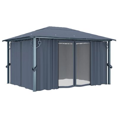 vidaXL Cenador con cortina gris antracita aluminio 400x300 cm