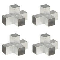 vidaXL Conectores de postes en X 4 uds metal galvanizado 91x91 mm