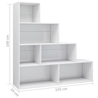 vidaXL Estantería/divisor aglomerado blanco brillante 155x24x160 cm