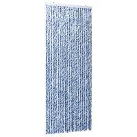 vidaXL Cortina mosquitera chenilla azul blanco y plateado 90x220 cm