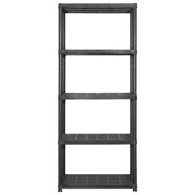 vidaXL Estanterías de almacenaje 5 niveles plástico negro 284x38x170cm
