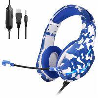 Auriculares para juegos con conector jack de 3,5 mm - azul camuflaje