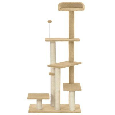 vidaXL Rascador para gatos con postes de sisal beige 125 cm