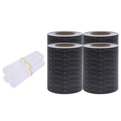 vidaXL Paneles de privacidad 4 uds PVC estampado de ratán 35x0,19 m