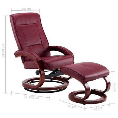 vidaXL Sillón reclinable y reposapiés cuero sintético color vino tinto