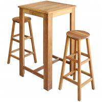 vidaXL Set mesa de bar y taburetes 3 piezas de madera de acacia maciza