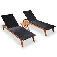 vidaXL Tumbonas 2 unidades con mesa ratán sintético y madera de acacia