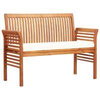 vidaXL Banco de jardín 2 plazas con cojín madera maciza acacia 120 cm