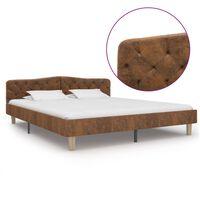 vidaXL Estructura de cama de piel de ante artificial marrón 180x200 cm