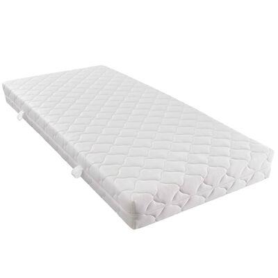 vidaXL Cama con colchón cuero sintético blanco y negro 120x200 cm