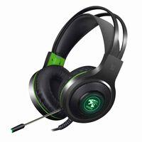 Auriculares para juegos V5000 con LED verde - USB + 3,5 mm