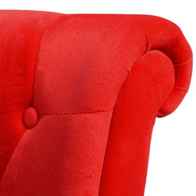vidaXL Sillón de respaldo alto de tela rojo