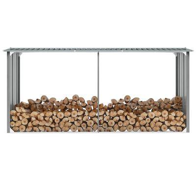 vidaXL Casetilla para leña acero galvanizado gris 330x92x153 cm