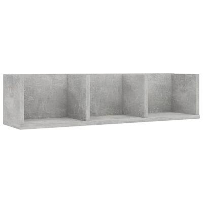 vidaXL Estante de pared para CD aglomerado gris hormigón 75x18x18 cm