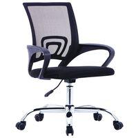 vidaXL Silla de oficina con respaldo de malla y tela negra