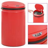 vidaXL Cubo de basura con sensor automático 40 L acero al carbono rojo