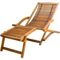 vidaXL Tumbona con reposapiés de madera maciza de acacia